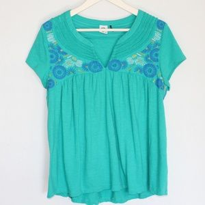 Akemi+Kin Tops - Anthropologie- Akemi+Kin teal embroidered top [L]